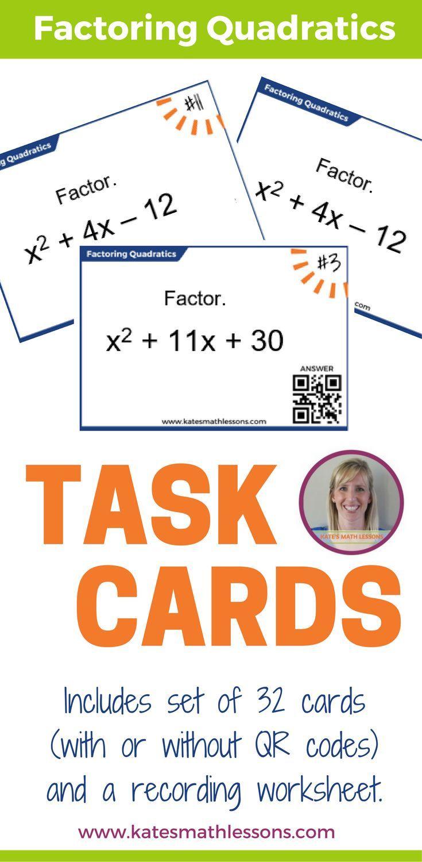 Factoring Quadratics Task Cards Qr Codes Worksheets And Students