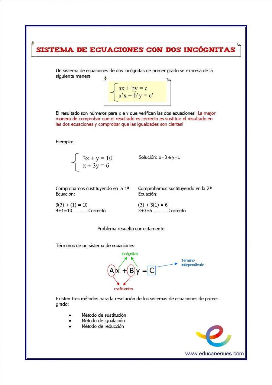 Sistemas De Ecuaciones Matematicas Secundaria Eso Matematicas Eso Ejercicios De Matematicas Fichas De Matema Sistemas De Ecuaciones Matematicas Ecuaciones