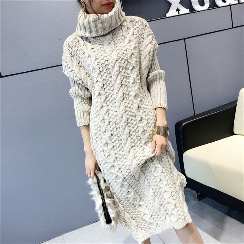 Women Sweater Dresses Winter Knitted Sweaters Turtleneck Solid Slim Dress Pullover Tops