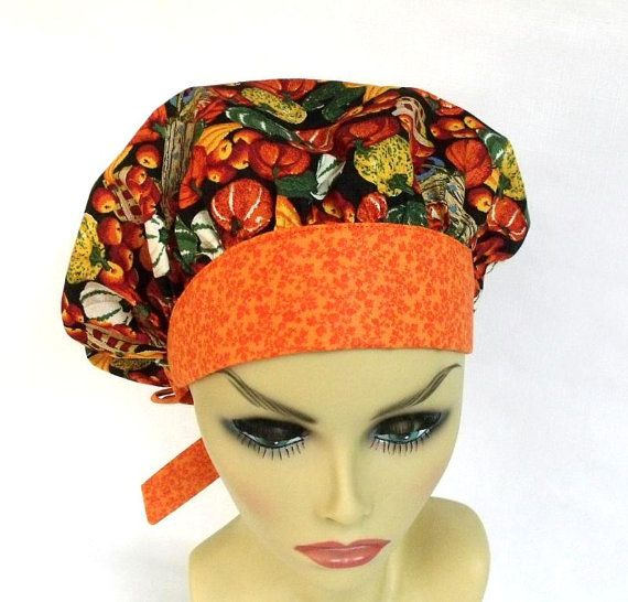 Bouffant Womens Surgical Scrub Cap Or Hat Fall Veggies