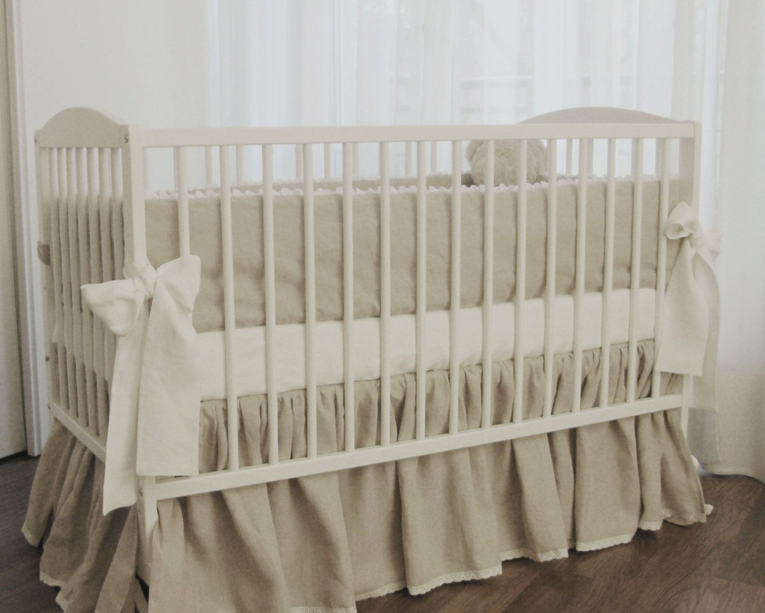 This Beautiful Linen Crib Skirt Is An Incredible Way To Add