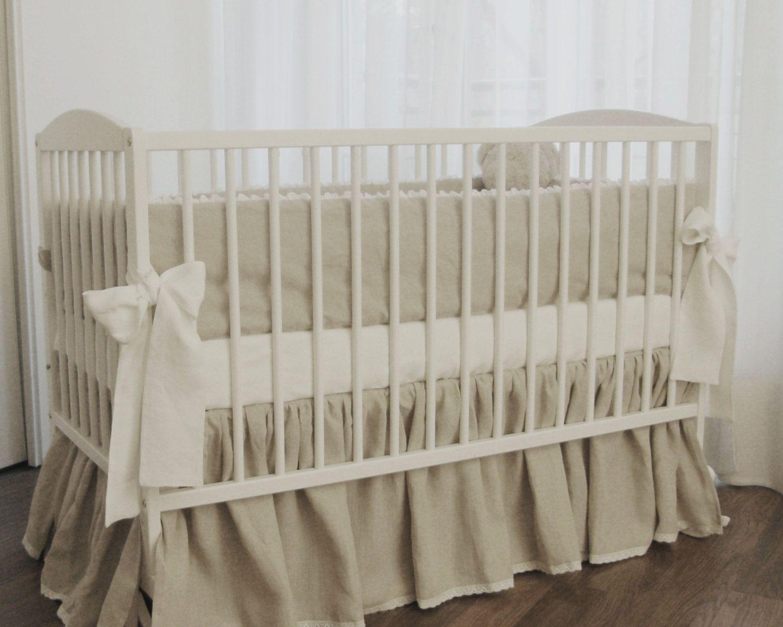 Crib Bedding Linen Crib Bedding Gender Neutral 2 Pcs Skirt