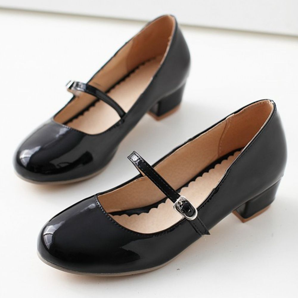 Price tracker and history of Meotina Women Shoes Low Heels Mary Jane  Classics Ladies Shoes Pumps Autumn Round Toe Square Heels Female Solid Black  Size