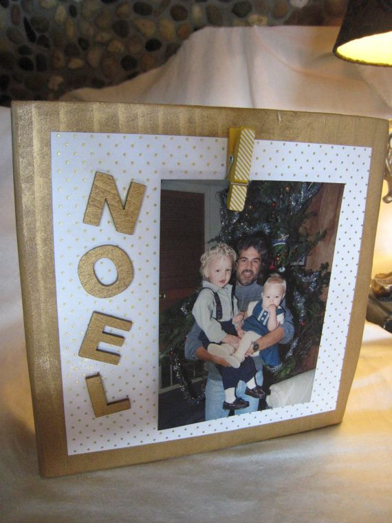 7x7 solid pine wood frame sprayed gold; decoupaged white paper with ...