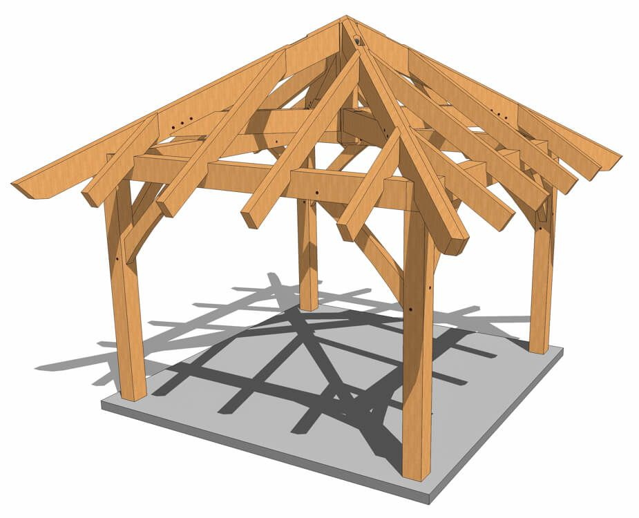 12x12 Timber Frame Gazebo Plan In 2020 Gazebo Plans Timber Frame Pavilion Timber Frame