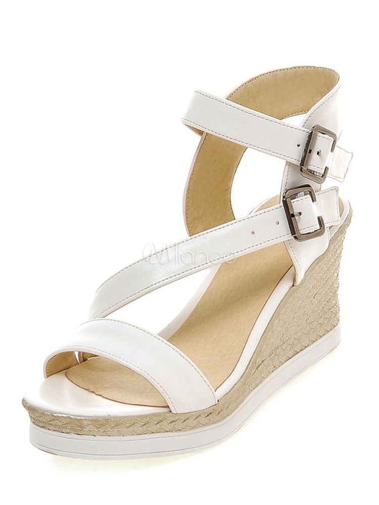 b364ef5dacd Women s Wedge Sandals Strappy Buckled Casual High Heel Platform Sandals