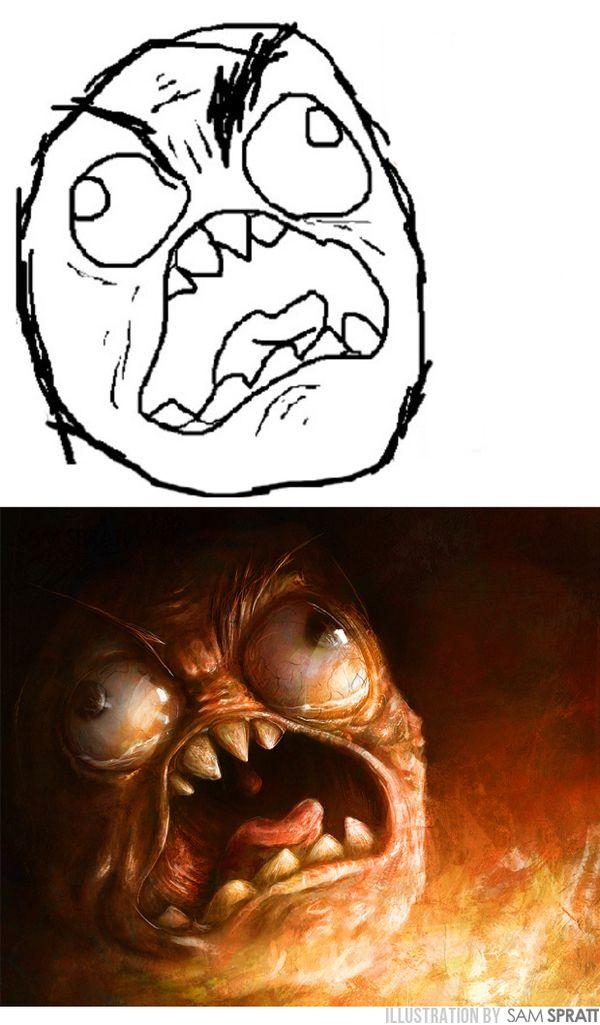1caff0522196eae581a1f38fd8aba177 meme faces evolved the artwork of sam spratt meme faces, freaky