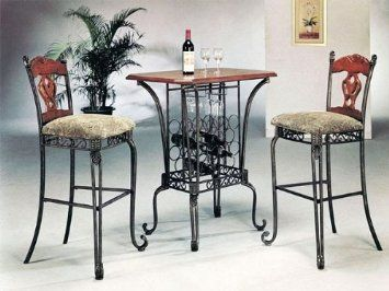 pub table and chairs 3 piece set 2 red metal amazon com bar with wine rack base furniture decor