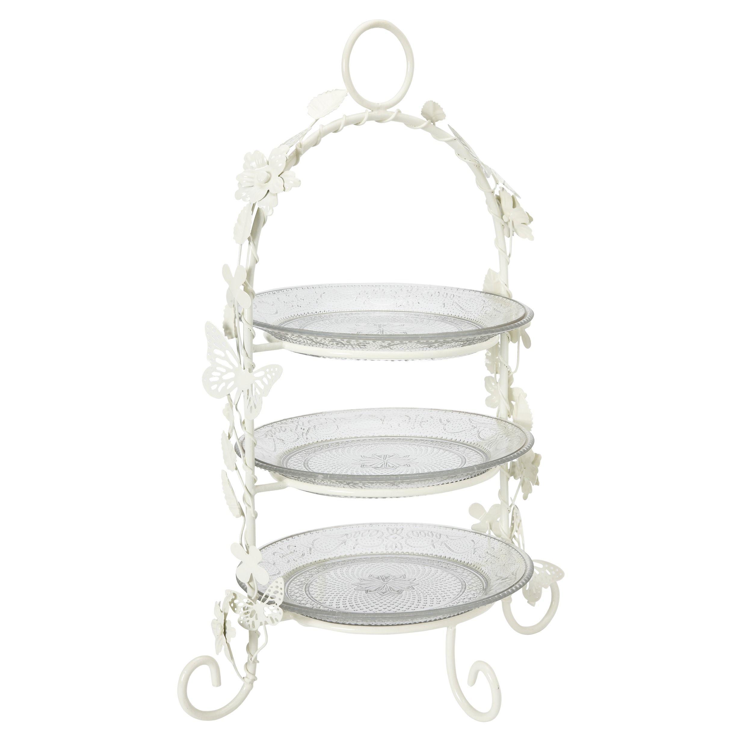 3 tier cream enamel high tea cake stand baking