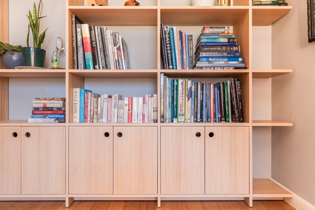 Study Bookcase 18mm Tasmanian Oak Veneered Plywood Hardwood Edging Floating Shelving Built In Bookcase Plywood Shelves Built In Shelves