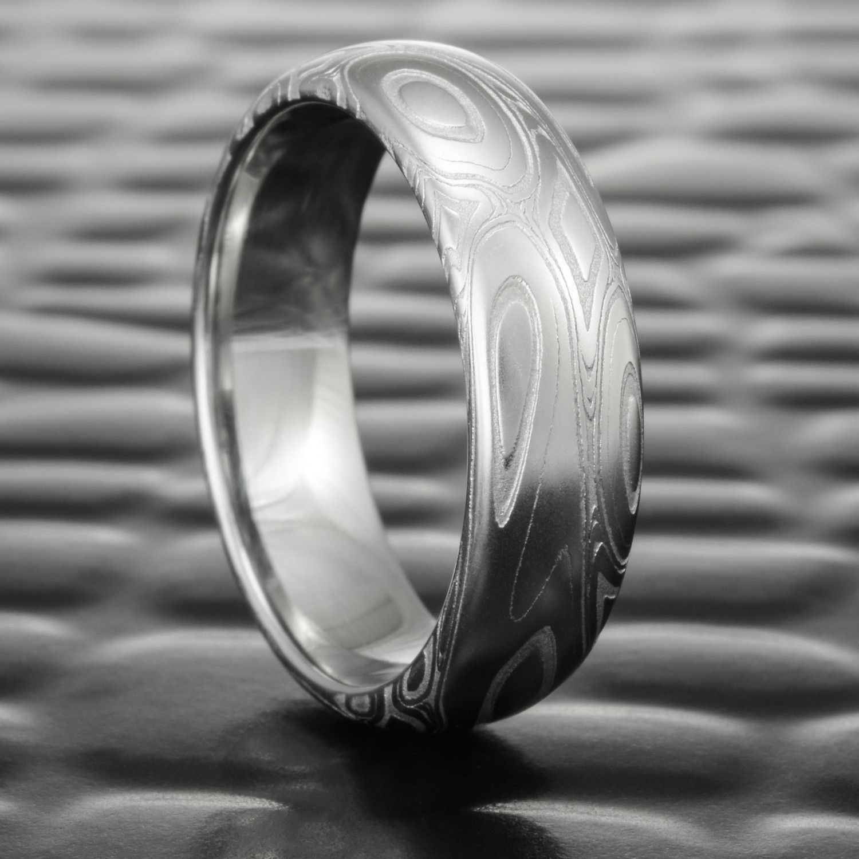 Domed 6mm Wide Damascus Steel Wedding Ring Eddy Pools Groom Ring Damascus Wedding Band Wedding Ring Designs