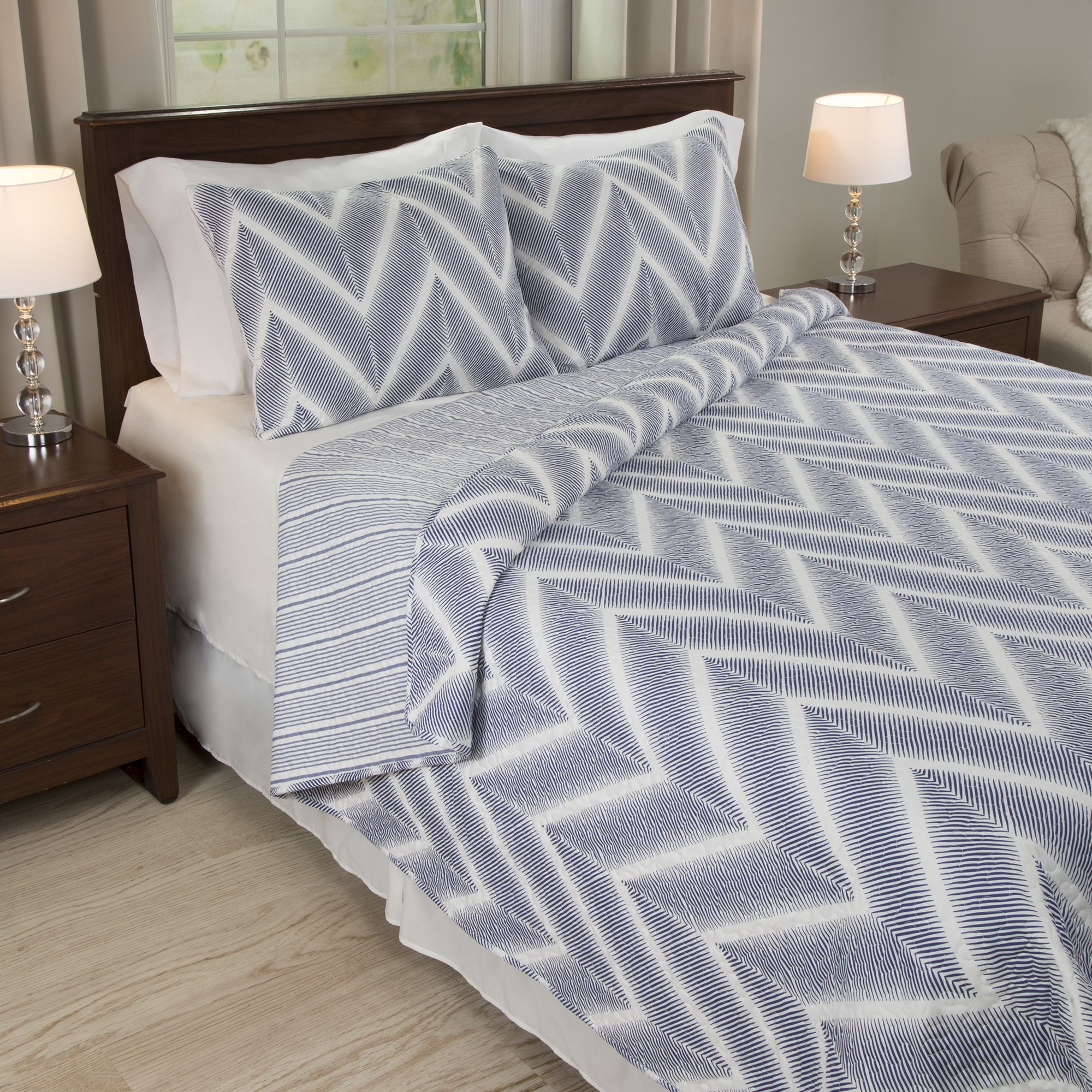 Lavish home oriana piece quilt set fullqueen gray products