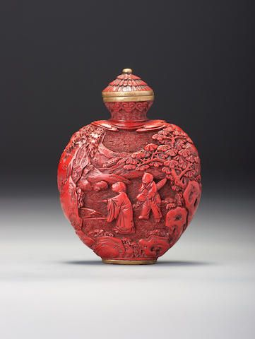 A carved cinnabar lacquer 'landscape' snuff bottle Probably Imperial…