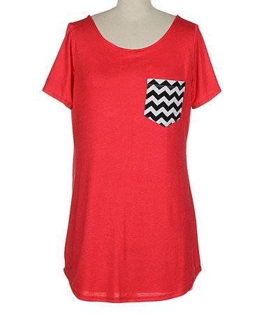 Look what I found on #zulily! Coral Zigzag-Pocket Scoop Neck Tee - Women #zulilyfinds