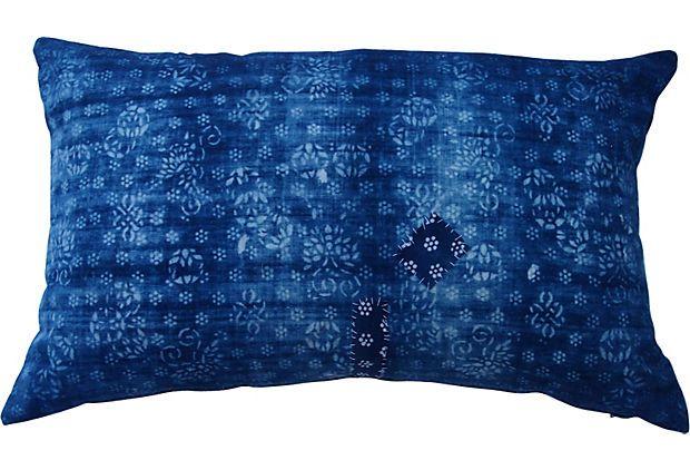 Blue Butterfly Batik Patch Pillow on OneKingsLane.com
