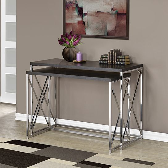 Cappuccino Hollow-Core/Chrome Metal 2 Piece Console Table Set ...