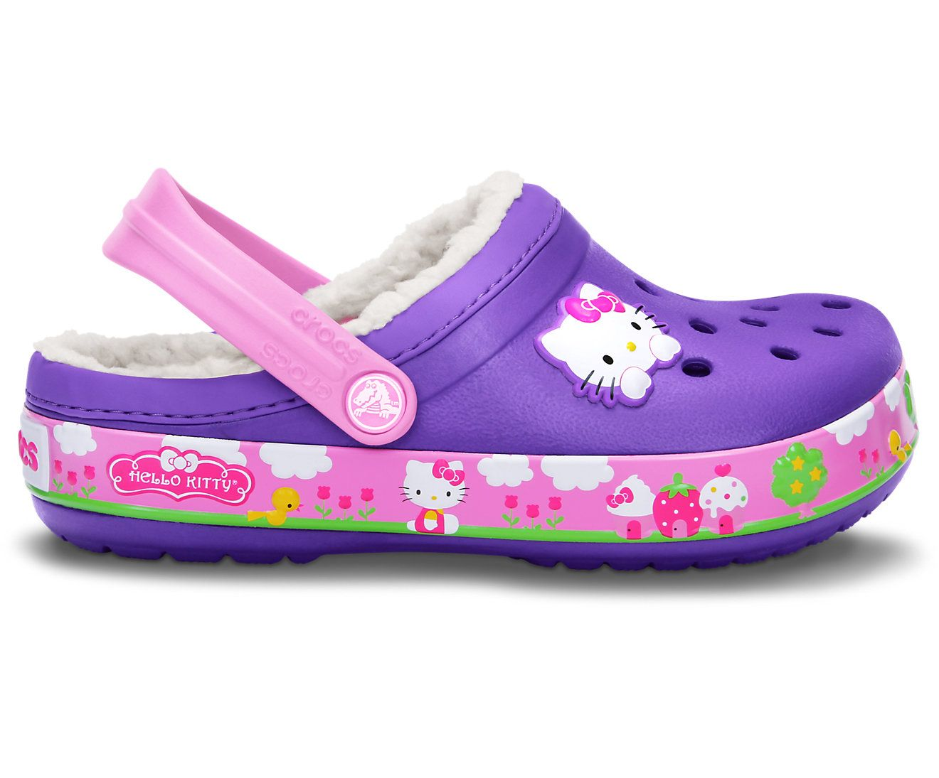 69a0b7211 How cute are these for little girls?? Crocband™ Hello Kitty® Fair Lined Clog  from @Crocs Shoes