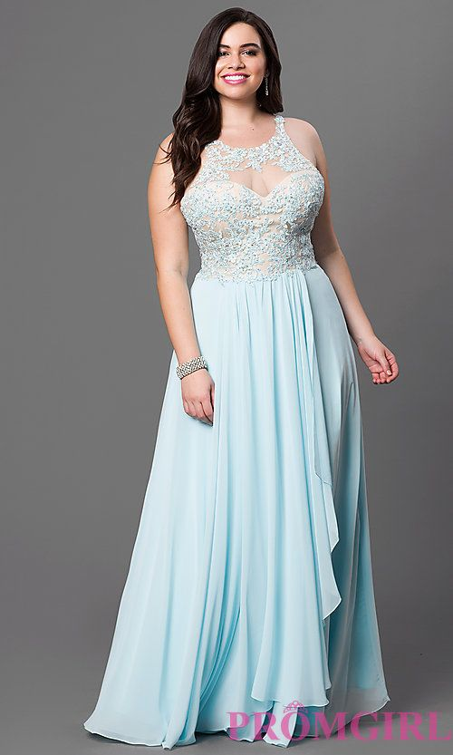 Image of long plus-size prom dress with jeweled lace illusion. Style ...