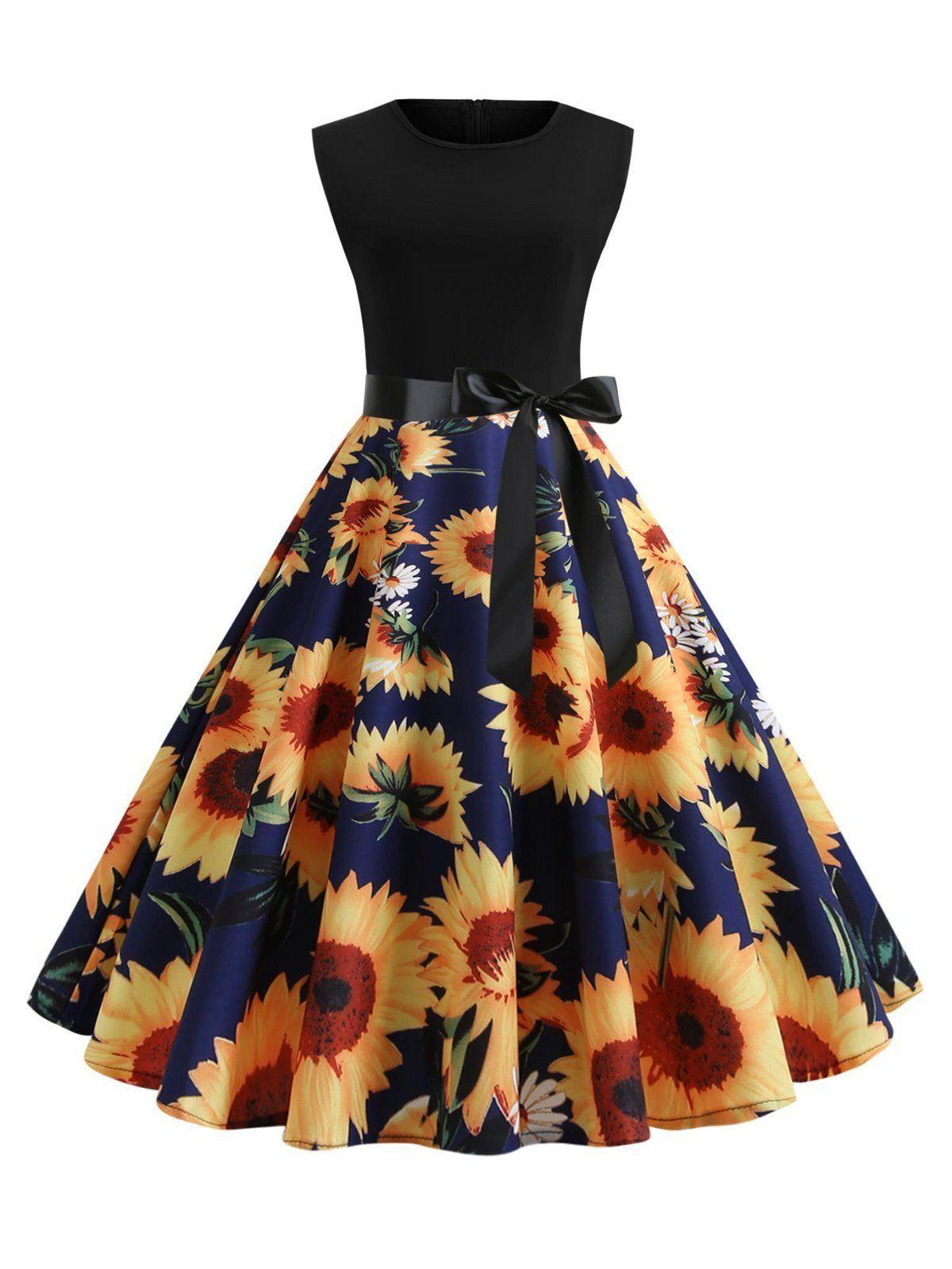 Navyblue Sunflower Floral Bow Swing Dress Sleeveless Dress Summer Spring Dresses Women Womens Dresses [ 1600 x 1200 Pixel ]