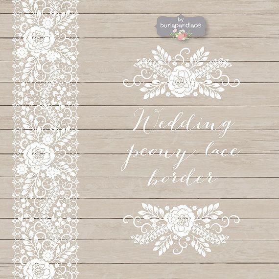 Lace wedding. Vector peony border invitation