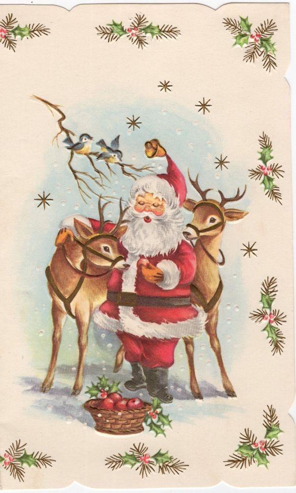 Santa Claus Deer Reindeer Apples Bluebirds Snow Bird Vtg Christmas Greeting Card Vintage Christmas Cards Christmas Card Pictures Christmas Scenes