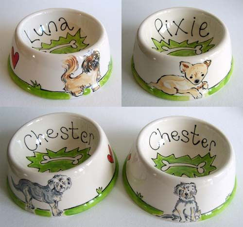 Handpainted Ceramic Dog Bowls More Examples