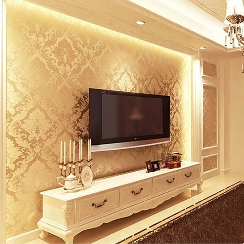 Textured Wallpaper Damask Wall Paper Non Woven Living Room Wallpaper TV  Background Wall Decor Papel De Parede Floral Yellow Part 50