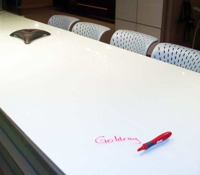 Collaboration table idea--add a slab of glass to top and use as a white board  http://www.goldrayindustries.com