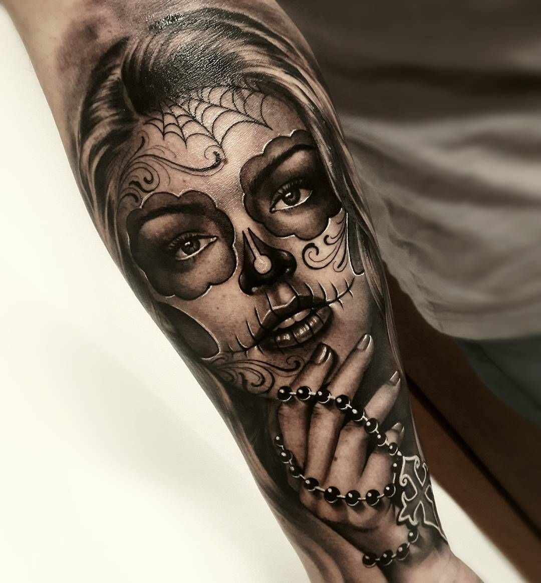 Jaw Dropping Girl Tattoo Rose: Jaw-dropping Day Of The Dead Tattoo © Tattoo Artist