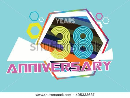 38 Years Anniversary Logo With Hexagonal Shape And Abstract Color