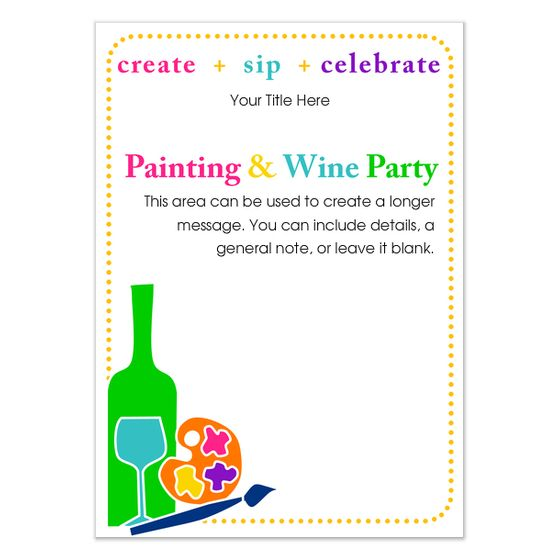 painting party invitation template invite and ecard design party