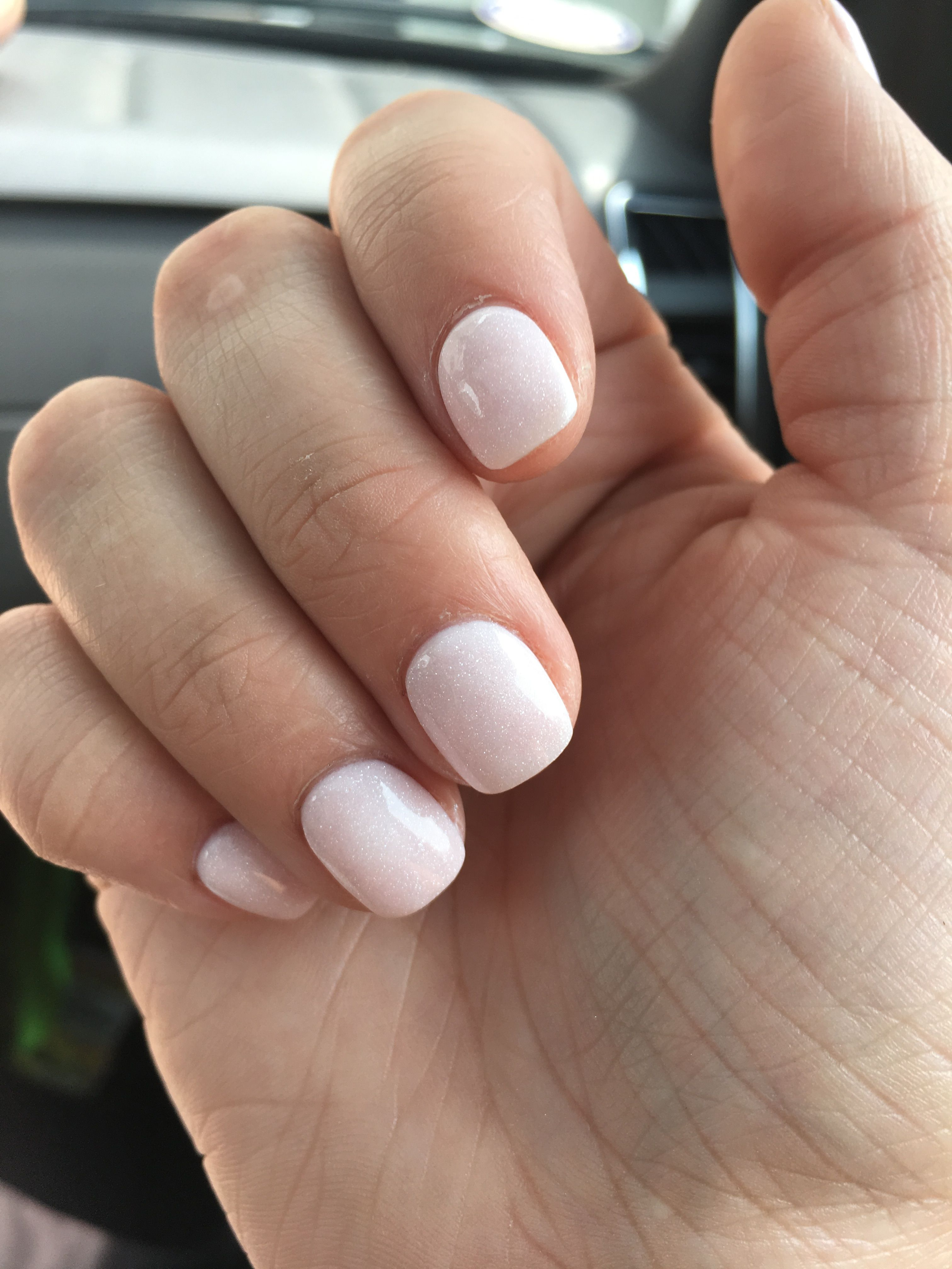 Light Pink Almost White Squoval Nails With A Little Bit Of Shimmer Squoval Nails Squoval Acrylic Nails Light Pink Nails