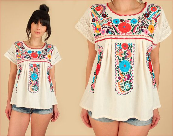 ViNtAgE 70's Mexican EMBROIDERED Tunic Crochet Top Shirt