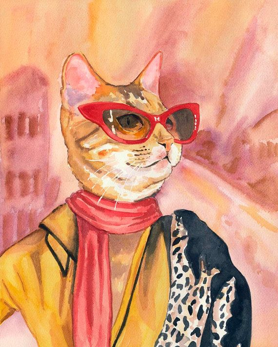 Cat Watercolour PRINT Fashion Illustration 5x7 by WaterInMyPaint