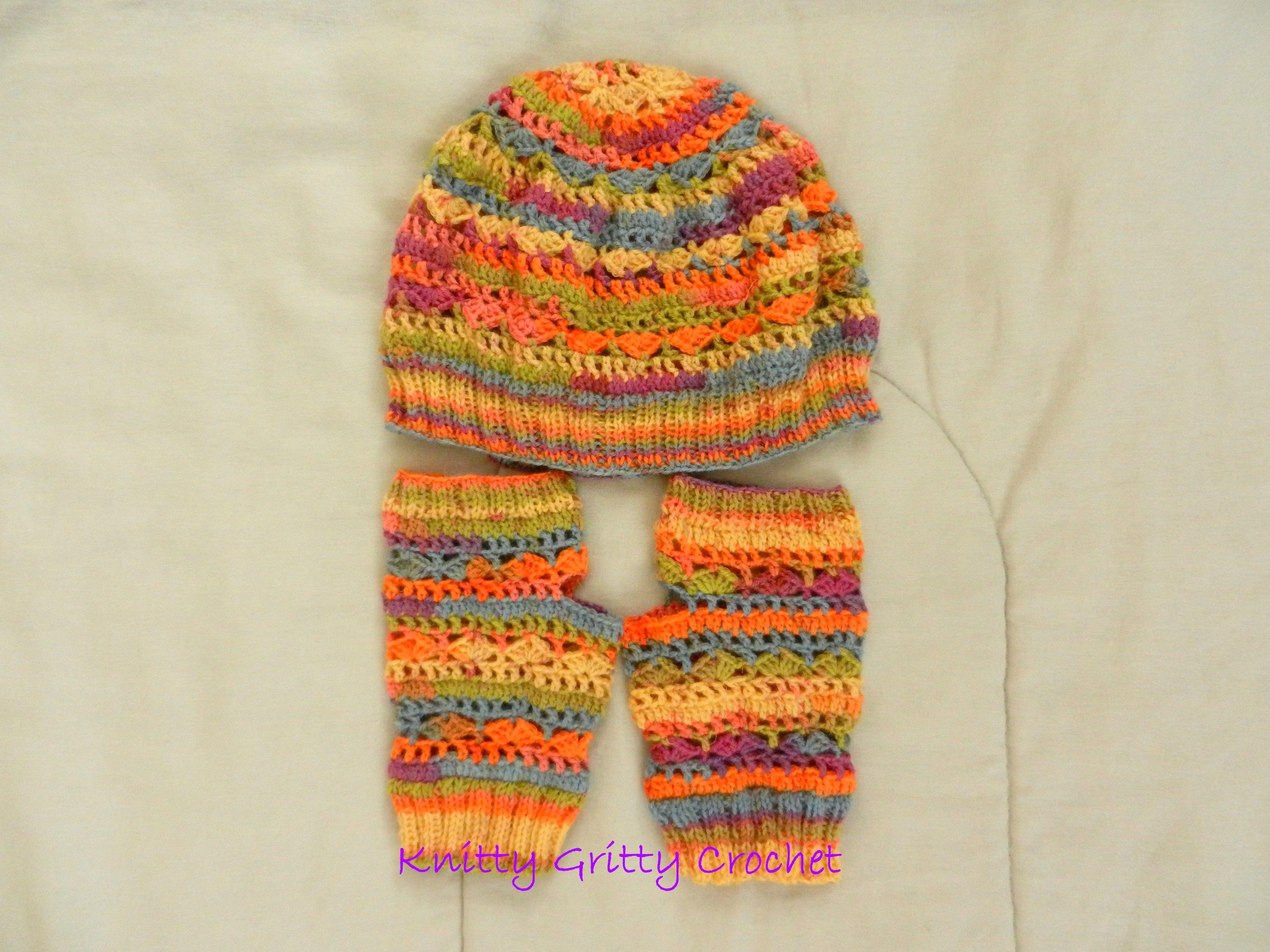 Hand Crochet & Knit Fall Blaze Hat & Spring Stripes Fingerless ...