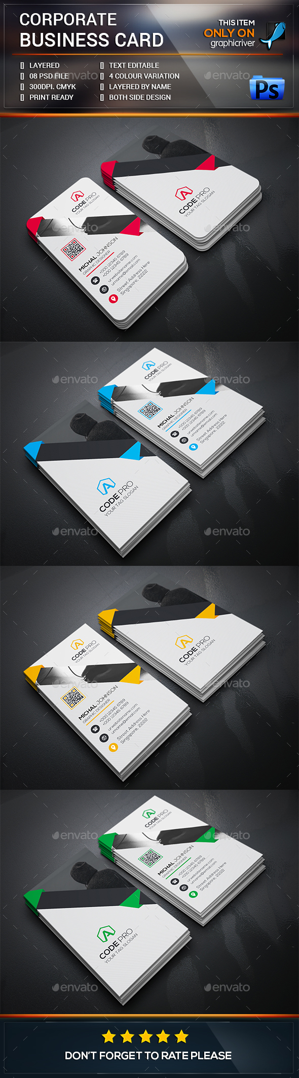 Smart Corporate Business Card Template PSD #visitcard #design Download: http://graphicriver.net/item/smart-corporate-business-card/13509193?ref=ksioks