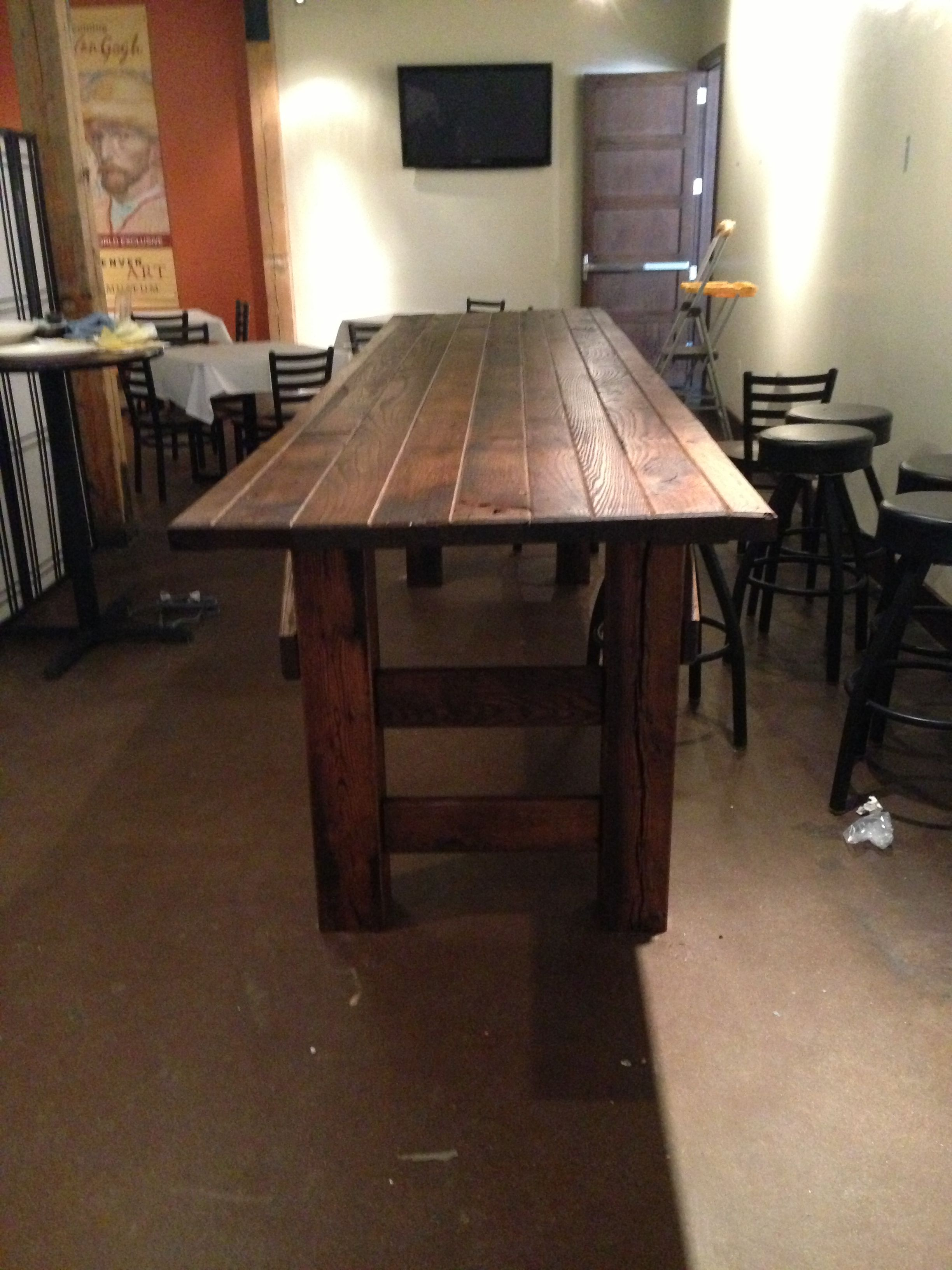 Custom 3u0027x12u0027 Bar Height Banquet Table Made From Reclaimed Barn Wood For A