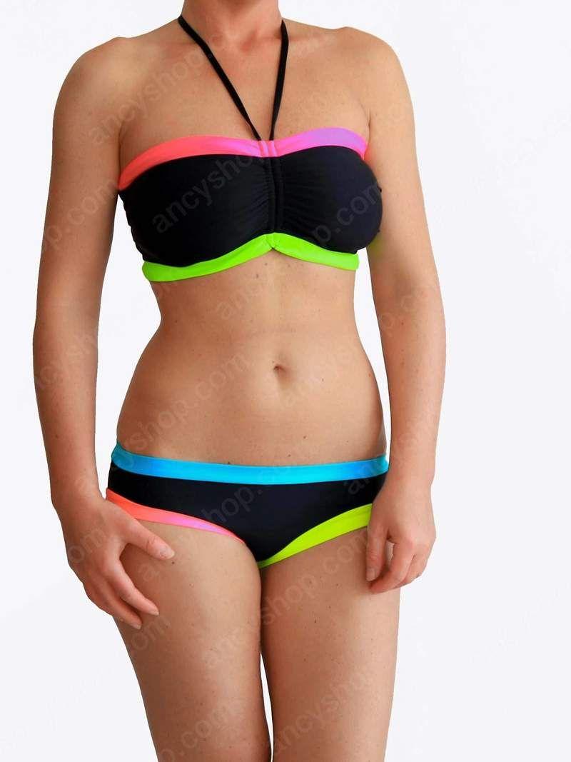 e30dd42f86 Designer Colorful Contrasted Black DDD Bandeau Plus Size Bathing Suit