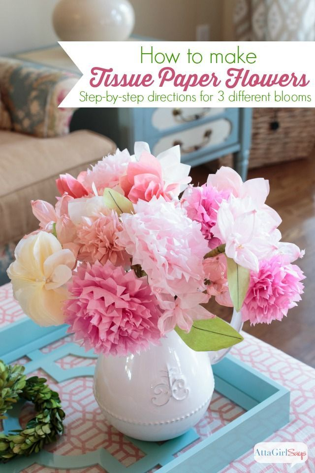 How to make tissue paper flowers diy crafts pinterest tissue learn how to make tissue paper flowers with this easy step by step tutorial featuring instructions for making three different types of blooms mightylinksfo