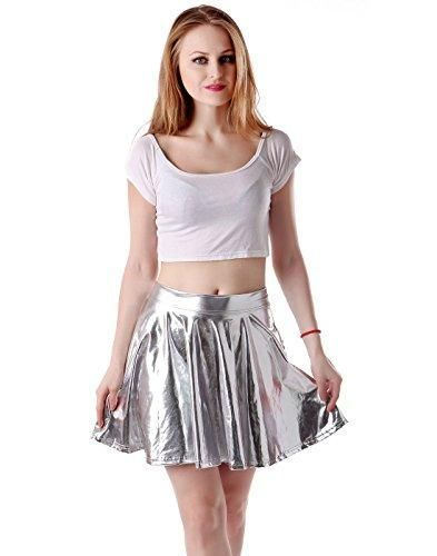 755b9b2e4ceea 95% Polyester | 5% Spandex - Flowy, pleated skater skirt with a wet look -  The flirty fun look makes it perfect for 80's themed parties, clubs, ...