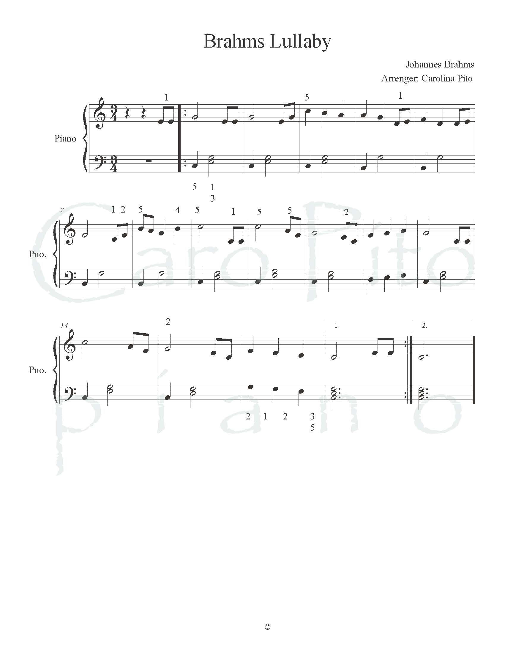 Brahms Lullaby Free Sheet Music By Caropito Piano With Images