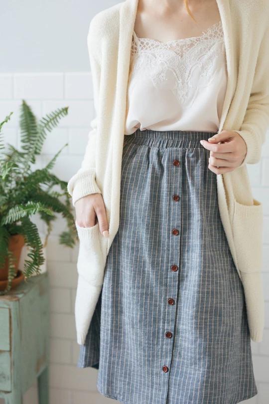 Emmette Denim Striped Midi Skirt