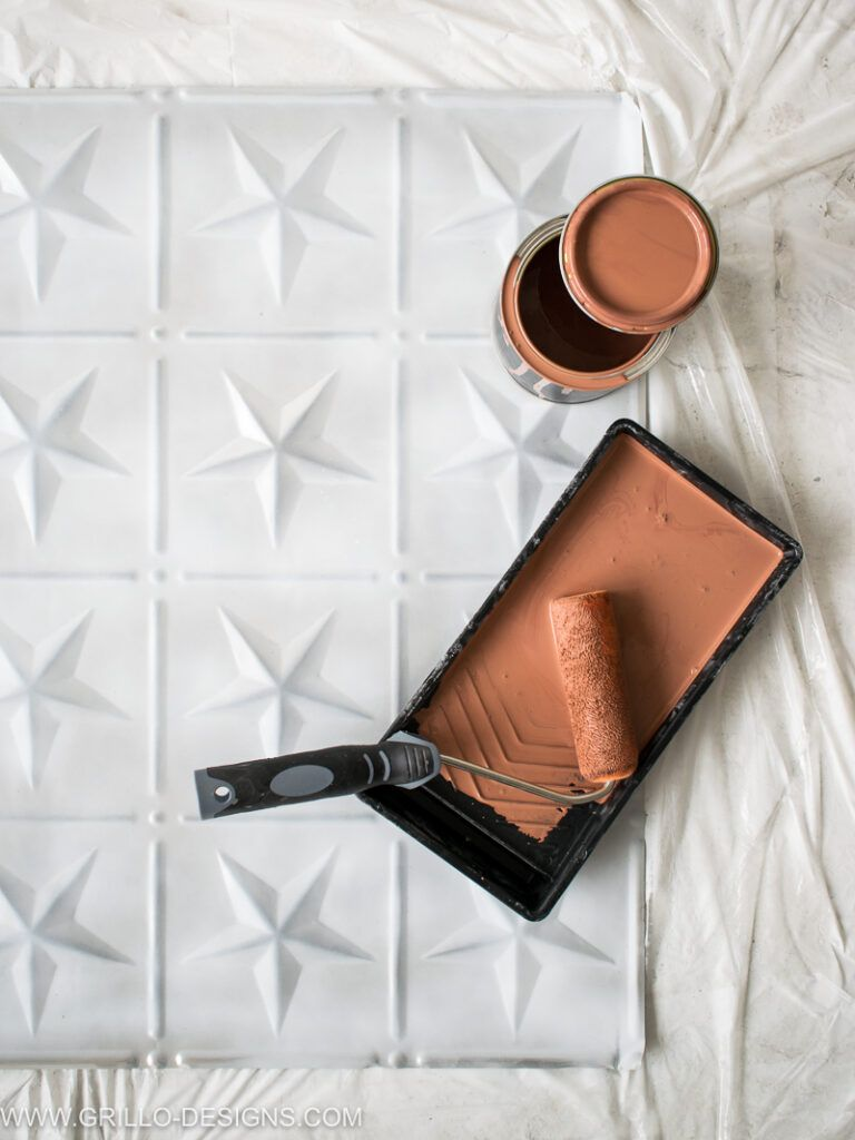 How To Paint Tin Tiles And Create A Faux Tile Feature Wall Tin Tiles Faux Tiles Feature Wall