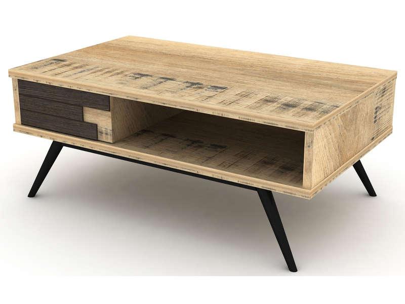 Table Basse Rectangulaire Ethnica Coloris Gris Noir Pieds En Metal En 2020 Table Basse Rectangulaire Table Basse Et Table Basse Conforama