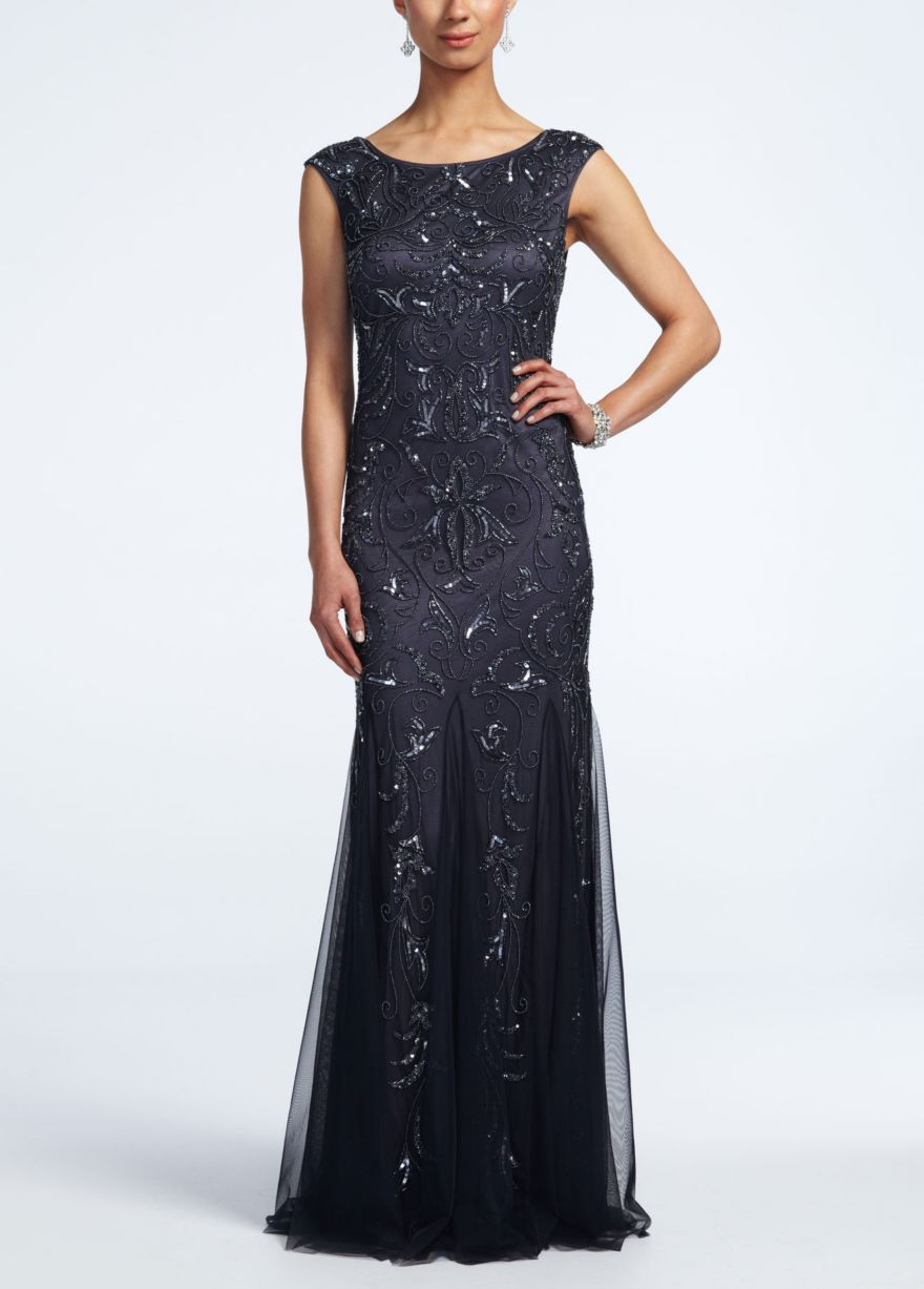 Cap sleeve beaded gown with scoop back davids bridal