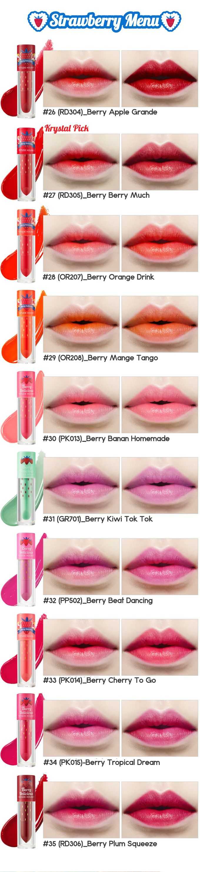$9 Etude House Berry Delicious Color In Liquid Lips Juicy 3.5g