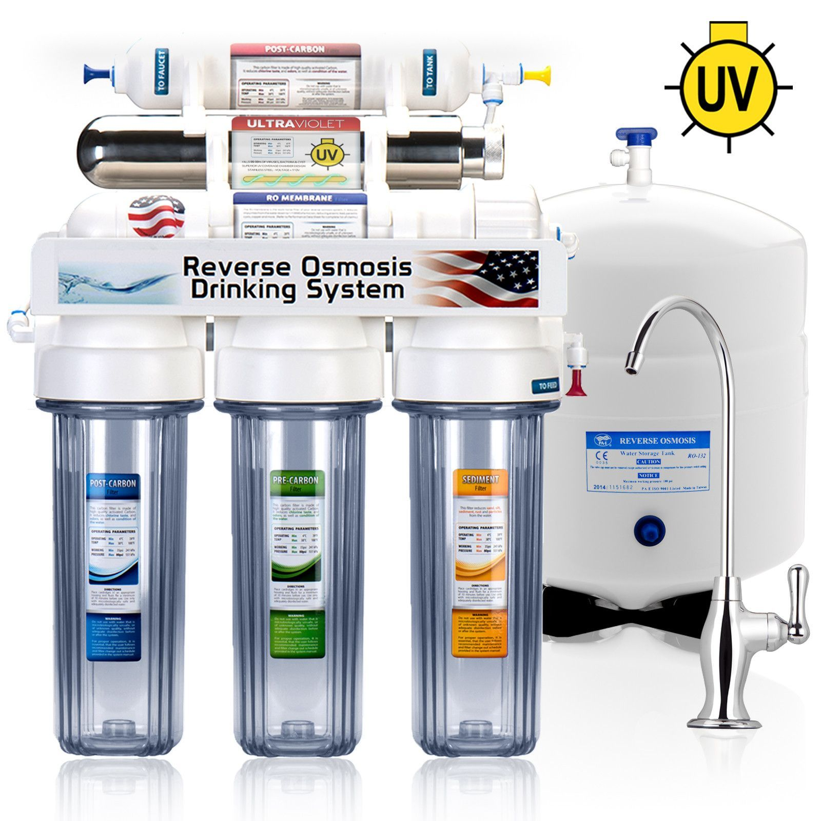 ROUV5DC 6 Stage UV Ultra Violet Sterilizer Reverse Osmosis Home