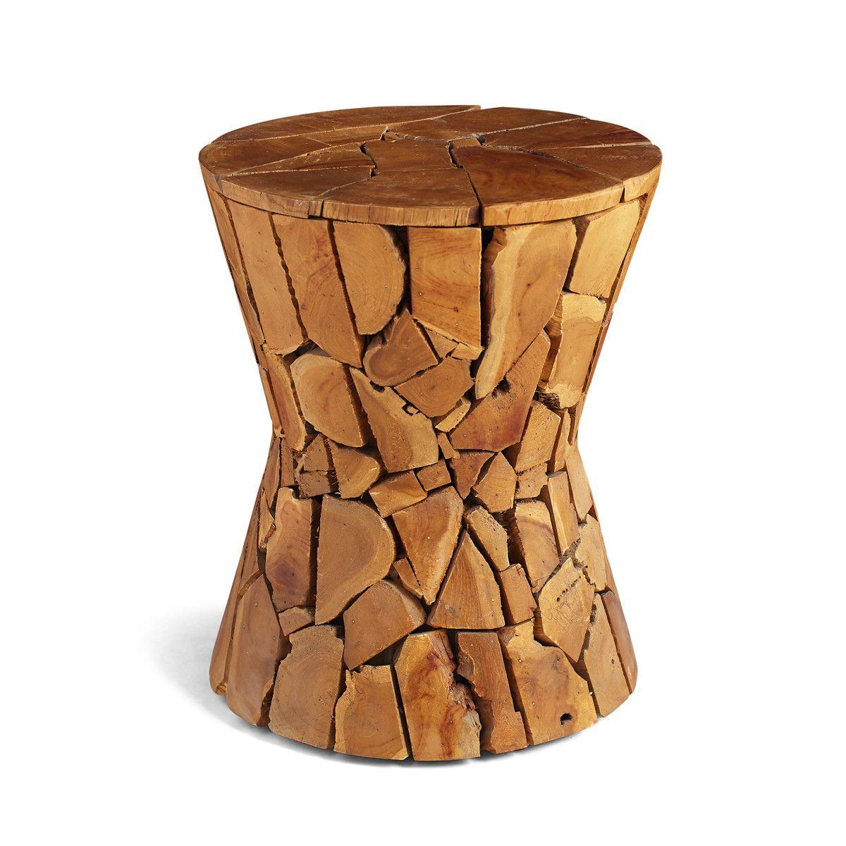 Teak Hourgl Side Table Rustic Rough Edges