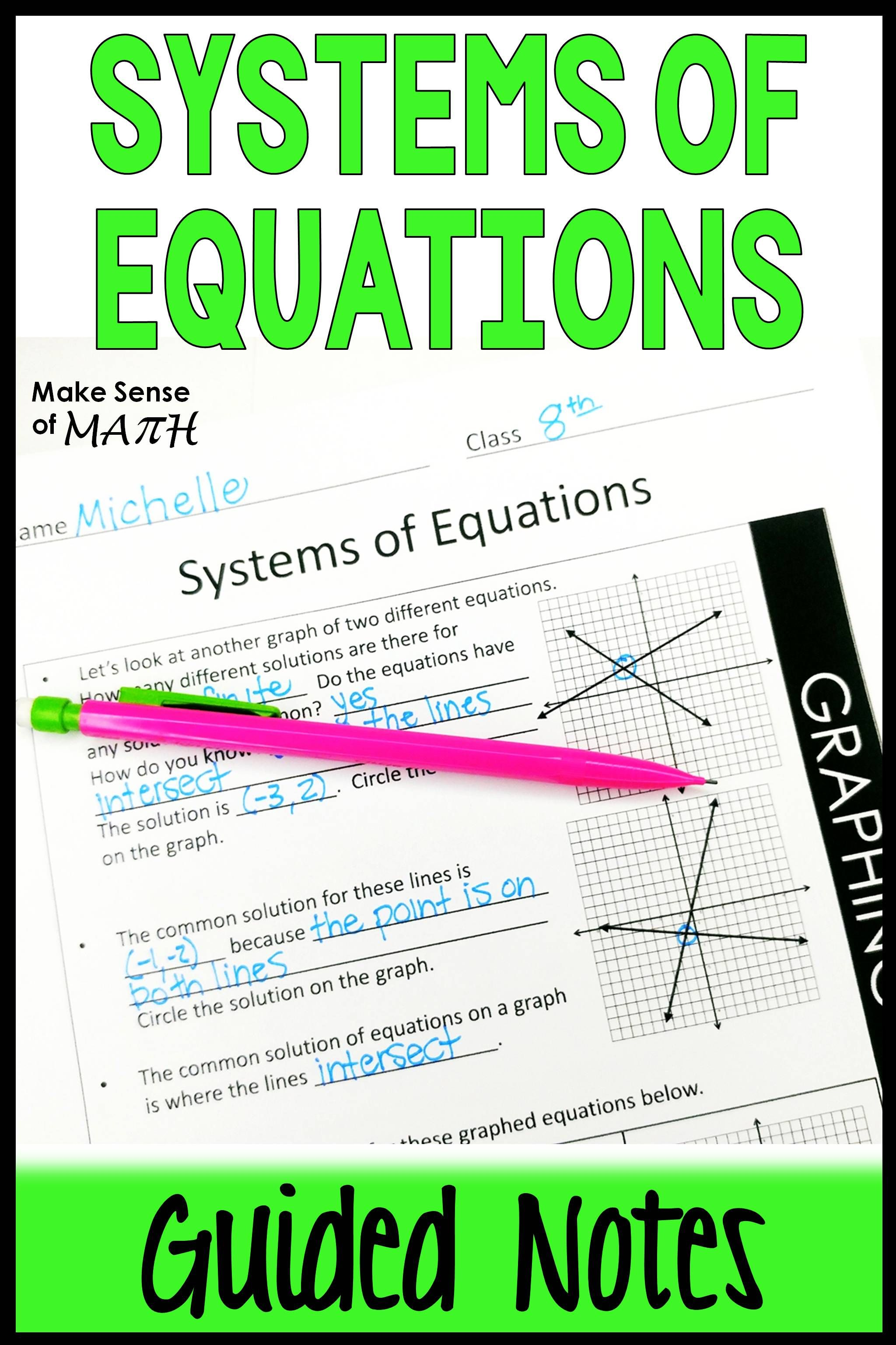 Systems Of Equations Guided Notes