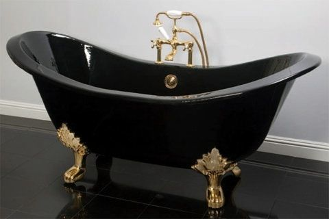 Dream black bathtub with gold legs Bathtubs Pinterest Black - Design Bathroom